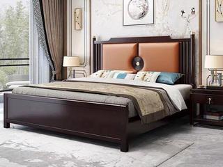 新中式 橡木檀艺 主卧 双人床 1.8米超纤皮床