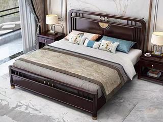 新中式 橡木檀艺 主卧 双人床 1.8米床