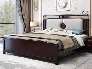 新中式 橡木 主卧 双人 储物 1.8米棉麻布 气压高箱床