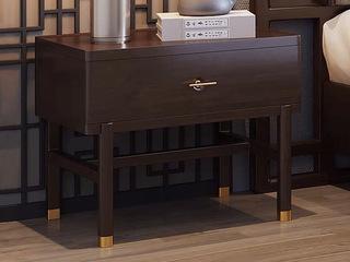新中式风格 紫檀色 单抽橡胶木床头柜