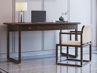 新中式风格 橡胶木 紫檀色 办公室家用书桌