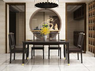 新中式风格 优质橡胶木 紫檀色 铜套款家用1.5米餐桌