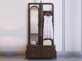 新中式风格 紫檀色 橡胶木 卧室家用落地试衣镜