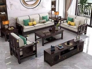 新中式  客厅 家用  高回弹海绵  棉麻布 松木架 沙发套装实木实木脚  1+2+3