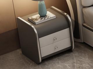 現代簡約 米白色+淺灰色 床頭柜