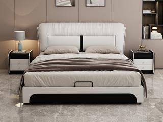 现代简约 皮艺 米白色+黑色 1.8*2.0米高箱床(抽屉躺右)