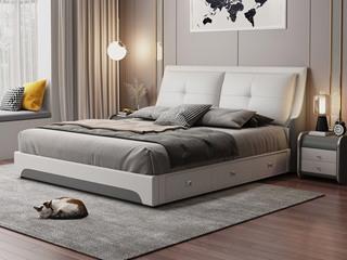 现代简约 皮艺 米白色+深灰色 1.8*2.0米高箱床(抽屉躺左)