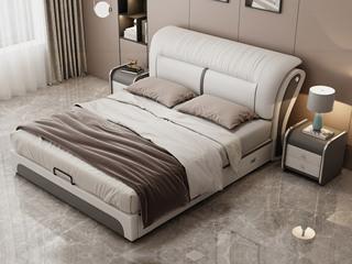 现代简约 皮艺 米白色+浅灰色 1.5*2.0米高箱床(抽屉躺左)
