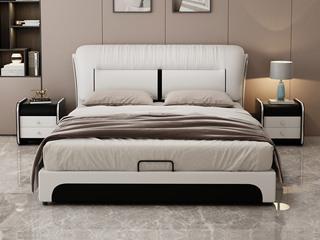 现代简约 皮艺 米白色+黑色 1.8*2.0米高箱床(抽屉躺左)