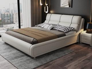 现代简约 皮艺 米白色 1.8*2.0米高箱床