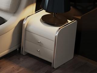 現代簡約 米白色 床頭柜