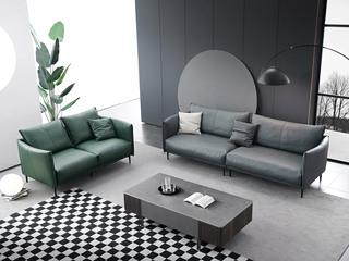 极简风格 真皮配科技皮 俄罗斯进口落叶松框架 双人位+四人位组合 沙发