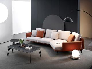 极简风格 棉麻面料 皮艺框架 俄罗斯进口落叶松框架 转角沙发(3+左贵妃)