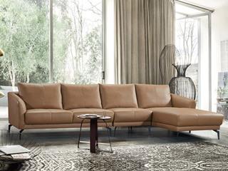 现代简约 皮艺 焦糖色 转角沙发(1+3+左贵妃)