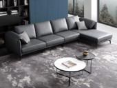 诺美帝斯 现代简约 头层真皮 深蓝色 转角沙发(1+3+左贵妃)