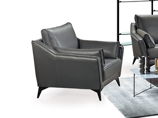 现代简约 皮艺 深灰色 单人沙发