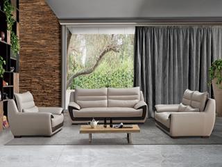 现代简约 皮艺 米白色 沙发组合(1+2+3)