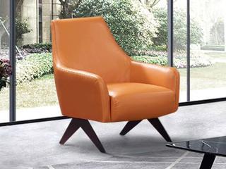 现代简约 皮艺 橙色休闲椅