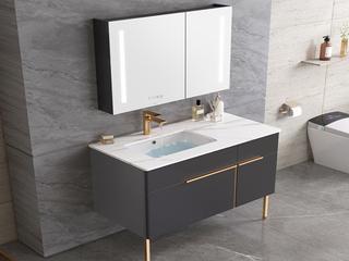【包邮 送货到家】 轻奢风格 岩板台面 普通镜 90CM 落地式 浴室柜套装(龙头需单独购买)