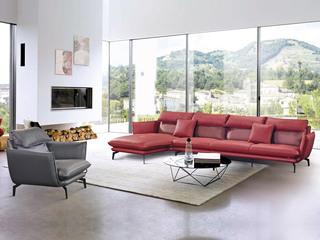 现代简约 头层真皮 红色+灰色 转角沙发(1+3+右贵妃+双扶单人位)