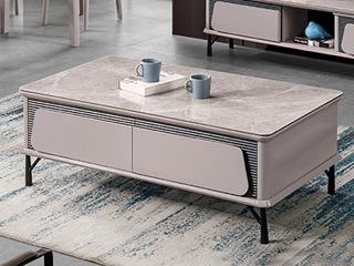 现代简约 亮光岩板台面 E1级板材柜体 金属脚  茶几