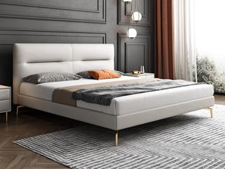 轻奢 全实木内架 白鹅羽绒 米白色 真皮舒适柔软床1.8米(搭配10公分松木排骨架)