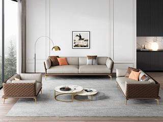 轻奢风格 全实木框架 羽绒公仔包 三人位 真皮沙发