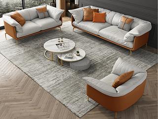 轻奢风格 全实木框架 三人位 真皮沙发