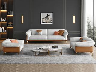轻奢风格 全实木框架 双人位 真皮沙发