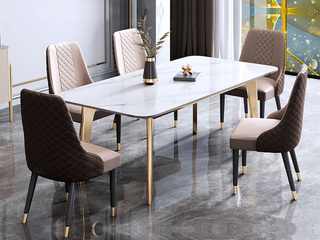 轻奢风格 不锈钢拉丝+大理石 1.3米 餐桌