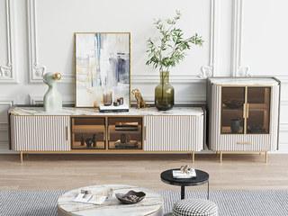轻奢 岩板台面 不锈钢镀金边 白色柜体+茶色玻璃 边柜
