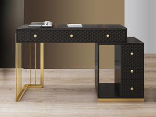 轻奢 岩板 钢琴哑光烤漆 黑色 伸缩书桌