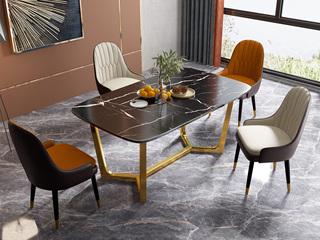 轻奢风格 大理石 劳伦黑金台面 1.6米餐桌