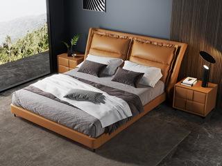 现代简约 充盈软靠 高档皮艺+白腊木 金橙色 1.8米床