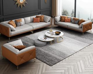轻奢风格 全实木框架 羽绒公仔包 双人位 橙色+浅灰色 真皮沙发