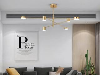 【包邮 偏远地区除外】 北欧简约 亚克力灯罩 金色吊灯6头餐厅客厅卧室灯具(含光源)