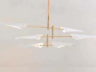 【包邮 偏远地区除外】 北欧简约 高低户型通用自由调节高度 白色+金色吊灯6头 客厅餐厅灯具(含光源)