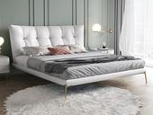 慕梵希 轻奢 全实木内架 白鹅羽绒 羽毛白 舒适柔软1.8米科技布床(搭配10公分松木排骨架)