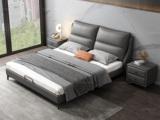 卡罗亚 时尚简约 充盈软靠+实木框架 深灰色 皮艺 1.8米高箱双人床(搭配实木排骨架)