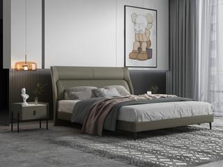 时尚简约 实木框架 浅墨绿 皮艺 1.8米双人床(搭配实木排骨架)