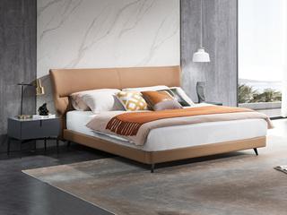 意式极简 头层黄牛皮 全实木排骨条 1.8*2.0米真皮软床