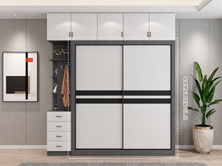 轻奢风格 经典黑白拼色推拉门 长1.6米 2开门衣柜