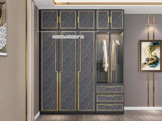 轻奢风格 质感雅黑柜体 玫瑰金轮廓线条 长1.2米 3开门顶柜