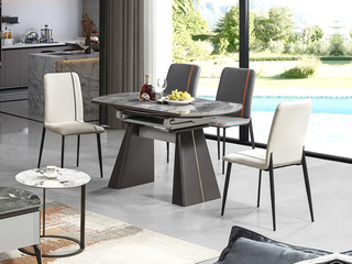 现代简约 蒙娜丽莎岩板 餐桌