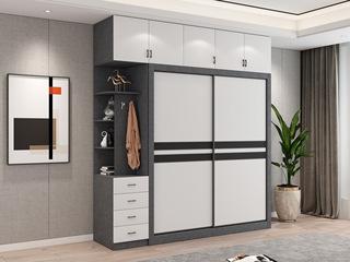 轻奢风格 环保实用 黑白拼色推拉门 2开门衣柜组合(长1.8米衣柜+长2.2米顶柜+长0.4米边柜)