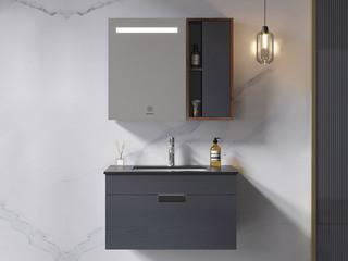 【包邮 送货到家】 极简风格 静谧黑岩板台面 智能柔光照明镜 超大储物空间 80CM 浴室柜套装(龙头需单独购买)