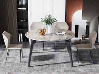 现代简约 蒙娜丽莎岩板 防刮耐磨 易清洗 圆形餐桌