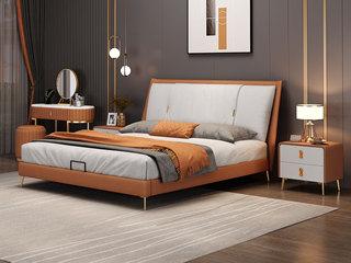 现代简约 橙色+米白色+米白色 实木框架夹板 柔软舒适海绵 科技布1.8米床(搭配排骨架)