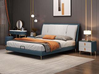 现代简约 蓝色+米白色 实木框架夹板 柔软舒适海绵 科技布长1.9米床(搭配排骨架)