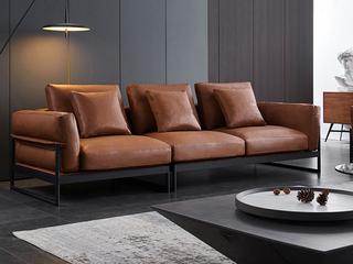 现代简约  羽绒 桔色 皮艺  双扶手4人位沙发